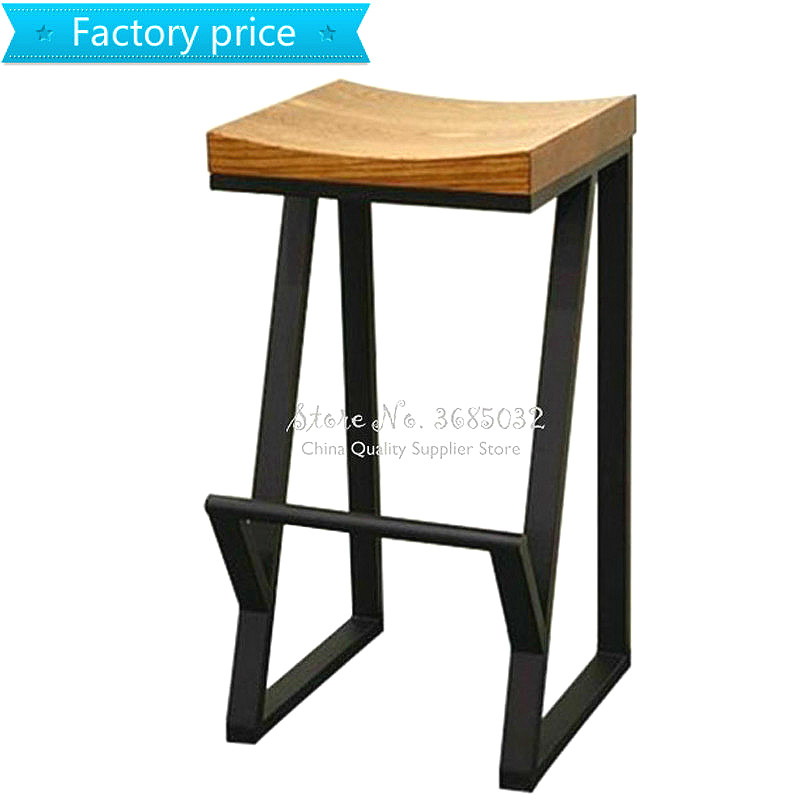 Hot Retro Bar Chair Wrought Iron Bar Stool Solid Wood Bar Stool Creative High Stool Leisure Bar Chair Front Coffee Chair