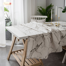 Proud Rose White Marbling Ins Modern Simple Printed Tablecloth Covering Cloth Table Cloth Cotton Linen Cabinet Covering Cloth цена 2017
