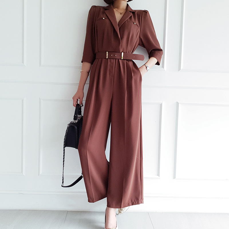 Office Lady Elegant Wide Leg Jumpsuits Women Autumn  Rompers Belted Waist  Playsuits Long Pants Overalls