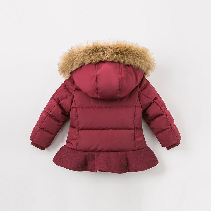 Dave bella winter baby meisjes donsjack kinderen 90% omlaag gewatteerde jas kids hooded bovenkleding met grote bont - 5