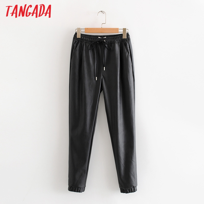 Tangada Women Black PU Leather Pants Stretch Waist Drawstring Tie Pockets Female Autumn Winter Elegant Trousers HY02