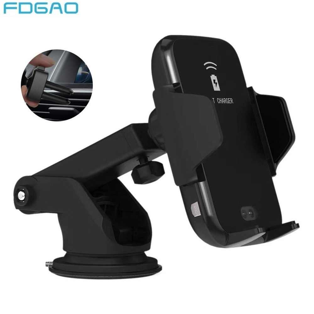 FDGAO Automatic Clamping Car Mount Qi Wireless Charger for iPhone XR XS X 8 Phone Holder 10W Fast Charging For Samsung S10 S9 S8