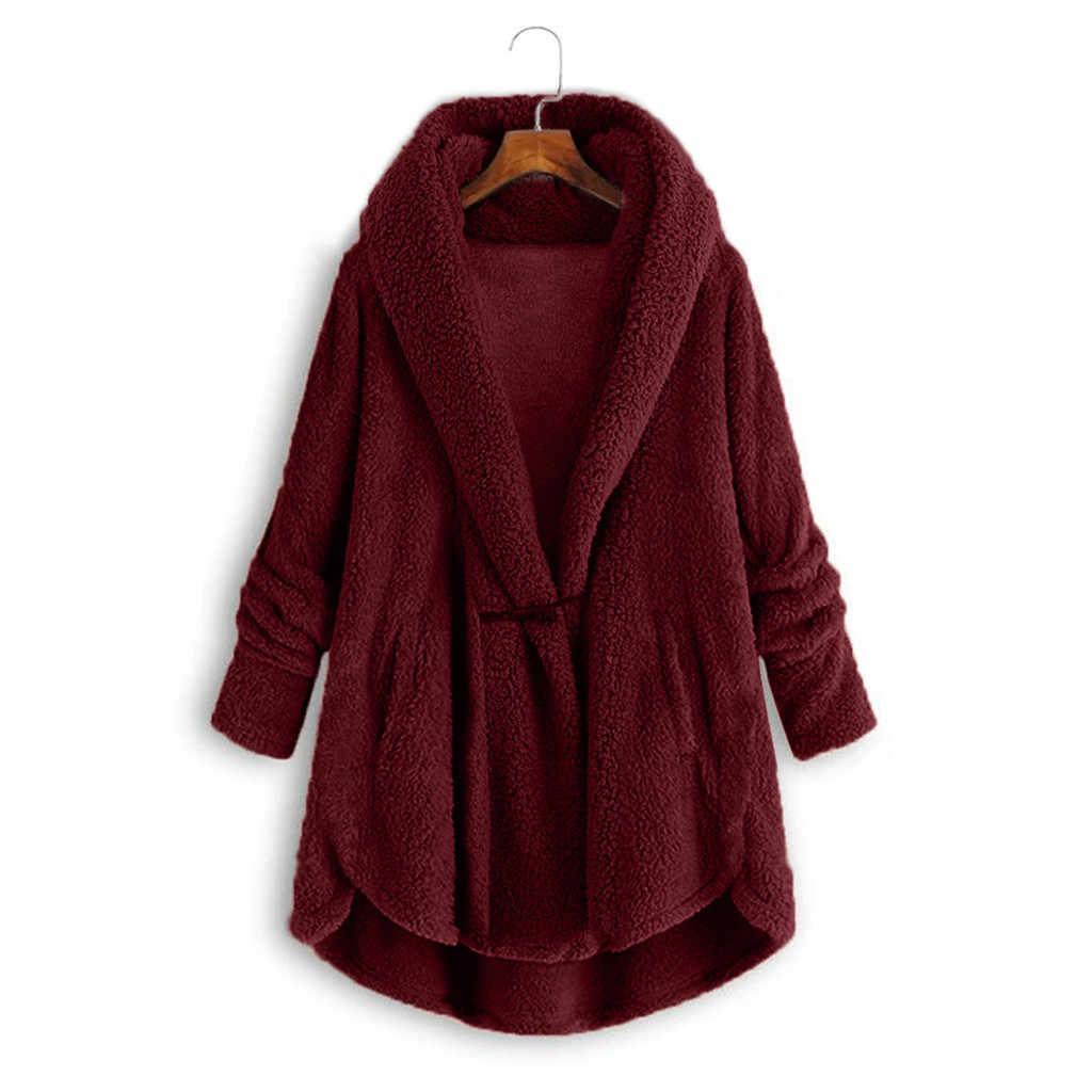 Zimowy dorywczo płaszcz ze sztucznego futra kobiet Plus rozmiar przycisk róg pluszowe bluzki z kapturem luźny kardigan płaszcz z wełny kurtka zimowa T3