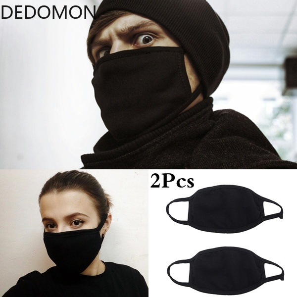 2Pcs Black Bilayer Cotton Mouth Mask Anti Haze Dust Washable Reusable Double Layer Dustproof Mouth-muffle Winter Warm Mask