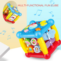 Ephex Multifunctional Cube Rotate Baby Wisdom House Six Sided Learn Words Lights Music Box Plastic Hand Shot Cognitive