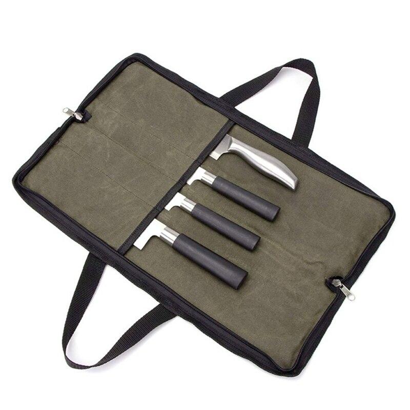 Сумка для ножей шеф-повара, сумка в рулоне для кухни (4 отделения), портативный Прочный чехол для хранения, зеленый чехол для переноски
