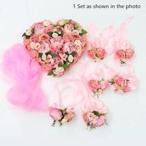 Image 3 - 1セット造花結婚式の車の装飾キットロマンチックなシルク偽ローズ牡丹の花バレンタインデーのギフトパーティー祭用品