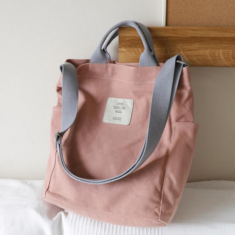 Women Canvas Tote Ladies Casual Shoulder Bag Foldable Reusable Shopping Bag Version Of The Versatile Simple Art Slanting Handbag