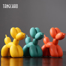 TANGCHAO Home Decor Balloon Dog Figurines For Interior Nordic Modern Resin Animal Figurine Sculpture Home Living Room Decoration
