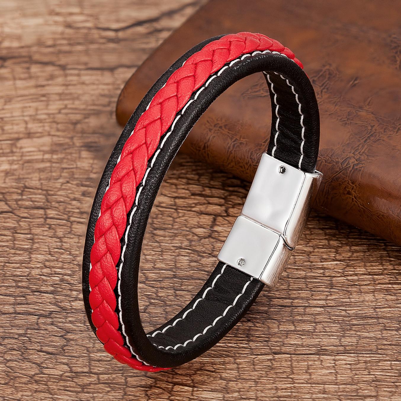 Punk Men Jewelry Red Black Braided Leather Bracelet Metal Magnetic Buckle Bracelets Charm Male Wrist Band Pulsera Hombre
