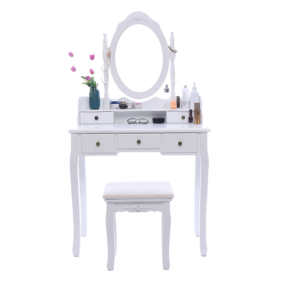 Concise 5 Drawer Vanity Makeup Dressing Table With Mirror Dresser Chair White Makeup Vanity Table Set Jewelry Storage Cabinet