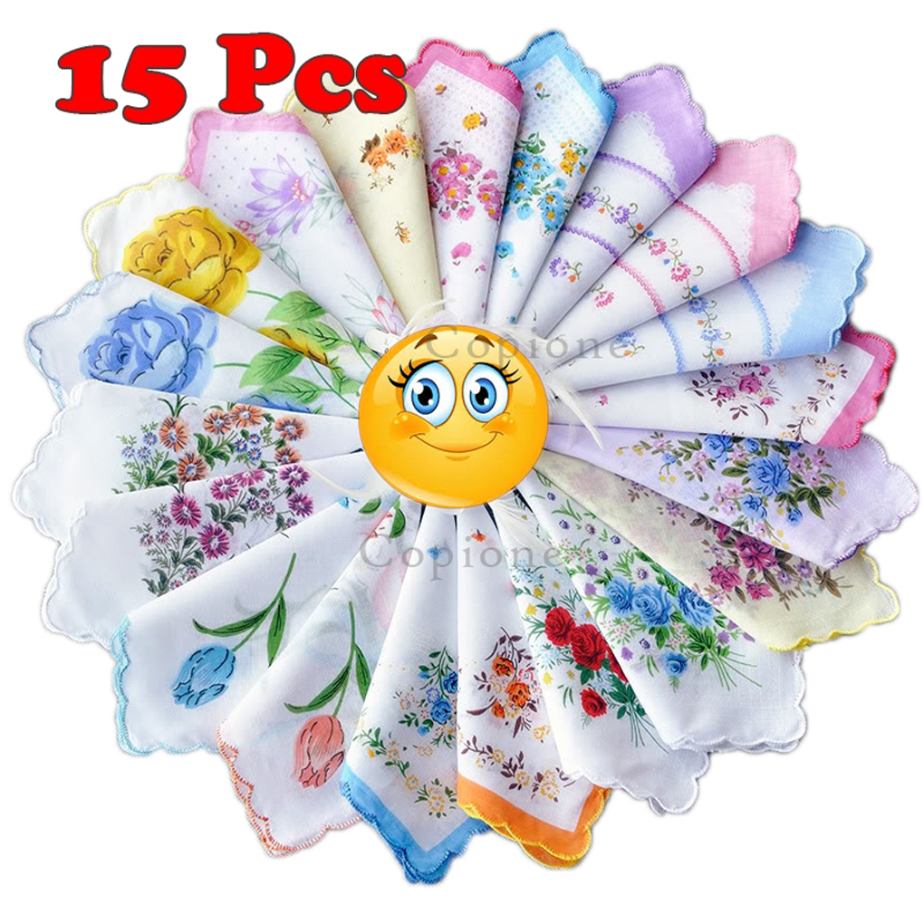 5/10/15 Pcs Cotton Gauze Muslin Square Lovely Flower Pattern Handkerchief Towel Random