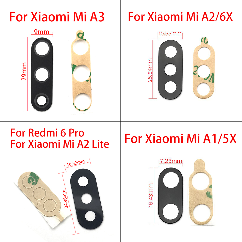 2Pcs/Lot,Rear Back Camera Glass Lens Cover For Xiaomi Mi A3 With Sticker Adhesive For Xiaomi Mi A1 A2 Lite Replacement Parts