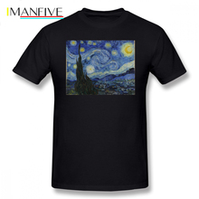 Starry Sky T Shirt Night Vincent Van Gogh T-Shirt Short Sleeve Fashion Tee Oversized 100 Cotton Graphic Tshirt