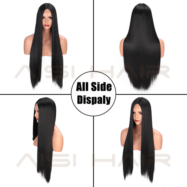 AISI HAIR Long Straight Black Wig Synthetic Wigs for Women Natural Middle Part Lace Wig Heat Resistant Fiber Natural Looking Wig 4
