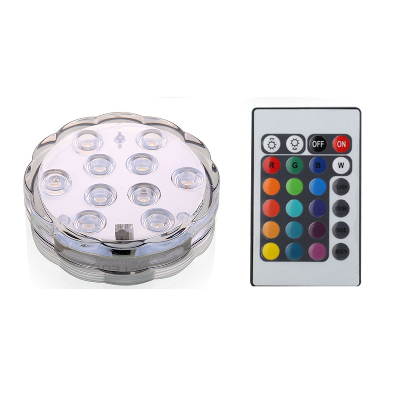 BMBY-2PCS 10 LED Submersible Light UNDERWATER RGB POOL/BATH/SPA Light+Remote Control