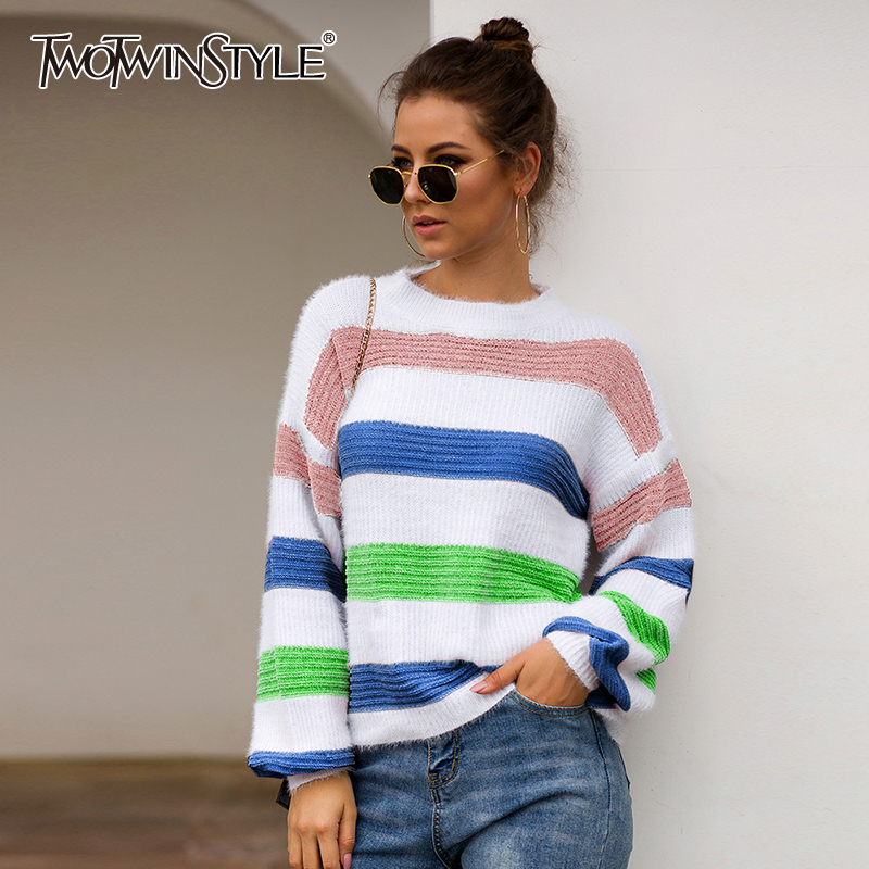 TWOTWINSTYLE Oversized Sweater Neck-Lantern-Sleeve Striped Knitting Hit-Color Female