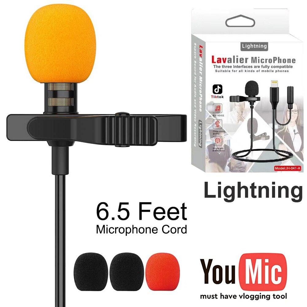 Внешний клип-на лацкане Lavalier Lightning с 3,5 мм аудио разъем микрофон для iPhone 7 8 XS XR XSMAX 11 Pro Max iPad mini air