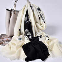 Winter 100% Wool Scarf Women Brand 2019 Shawls and Wraps for Ladies Echarpe Pashimina Printing Pure Wool Scarves Foulard Femme