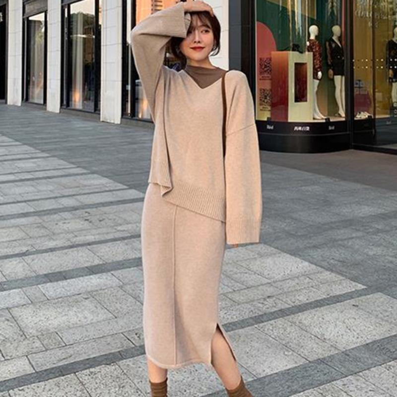 High Quality Elegant Ladies Cashmere Sweater 2 Piece Set Women Fashion O Neck Long Sleeve Loose Knitted Pullovers & Skirt Set