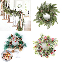 Christmas Wreath Barries Cones Artificial Vine Hanging Floral Foliage Garland Christmas Decorations for Home Navidad Natal 2020