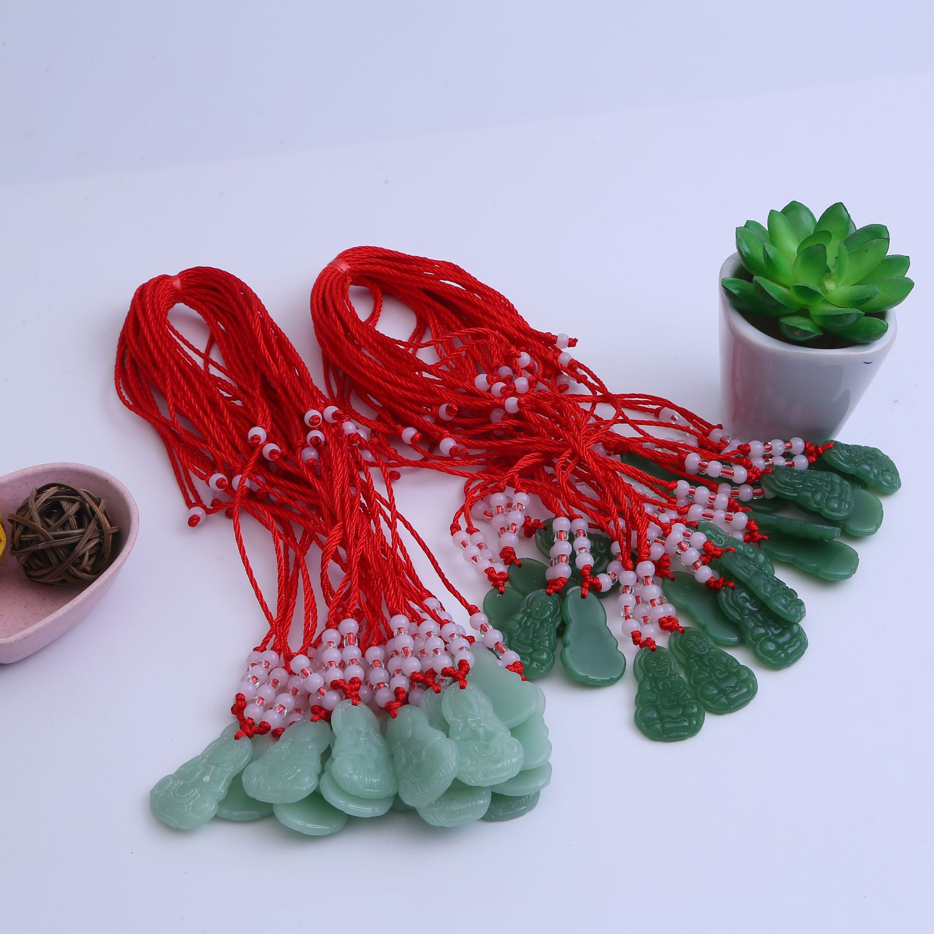 Zhu Yu 8 Beads Line Red String Necklace Guanyin Zhu Jade 8 Beads Line Red String Necklace Buddha Pendant Hang Up Supply Of Goods
