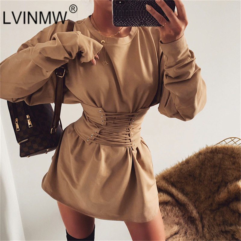 LVINMW Casual O Neck Long Sleeve With Bandage Cross Elastic Waist Dress 2019 Winter Women Slim Mini Dress Female Streetwear