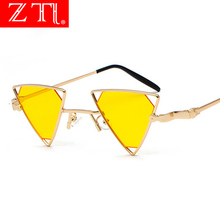 ZT Women Steampunk Triangle Sunglasses Vintage Punk Styles Fashion Men Hollow Out Yellow Lens Shades UV400