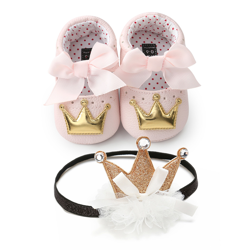 Toddler Kid Baby Girls Bowknot First Walking Newborn Walkers Shoes+1PC Hairband