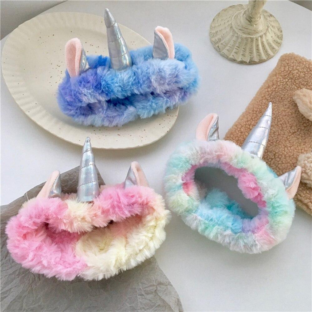 2020 New Unicorn Headband Women Head Wrap Soft Plush Makeup Washing Face Turban Bow Hairband Hair Turban Accessories