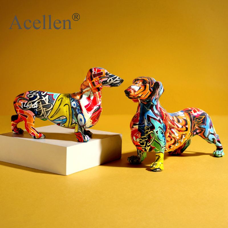 Painted Colorful Dachshund Dog Figurine Home Decor Modern Wine Cabinet Office Decor Desktop Resin Crafts Miniatures Statue Gift