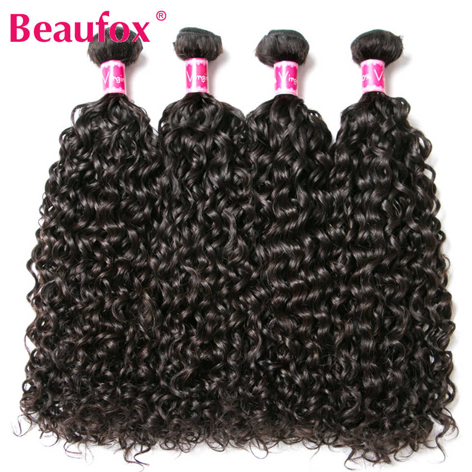 Beaufox Deep Wave Brazilian Hair Weave Bundels 4 Bundels 100% Human Hair Bundels Remy Haarverlenging 8-28 Inches