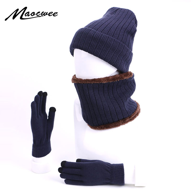 Fashion Winter Skullies Beanies Hat Scarf Gloves Set For Men And Women 3Pcs Warm Knitted Beanie Cap With Lining Ring Scarf Glove