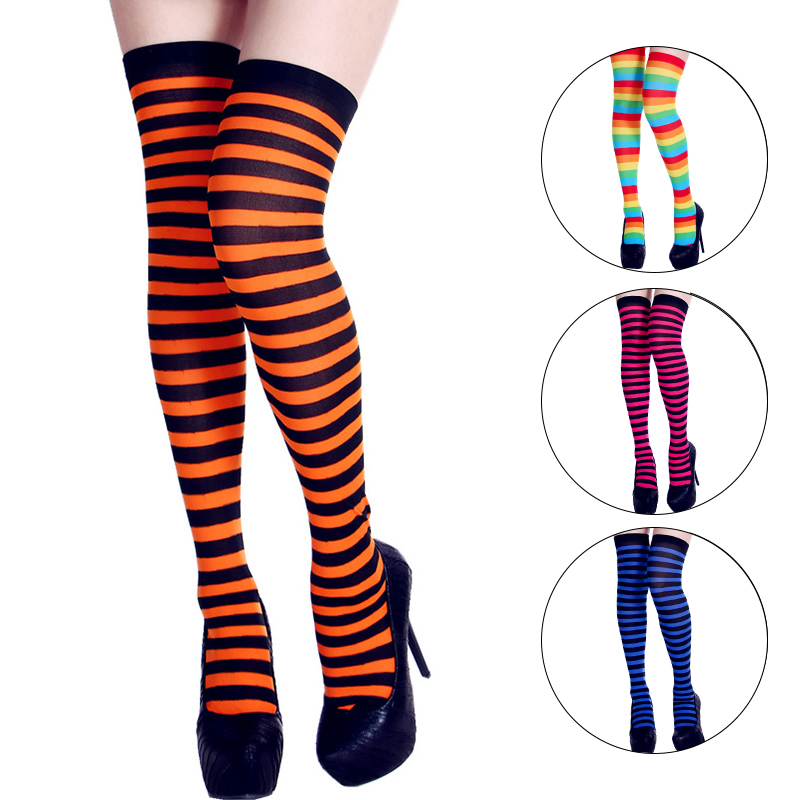 Neon Striped Women Stockings 2019 Fashion Streetwear High Knee Socks Female Elastic High Tight Stockings Yellow Orange