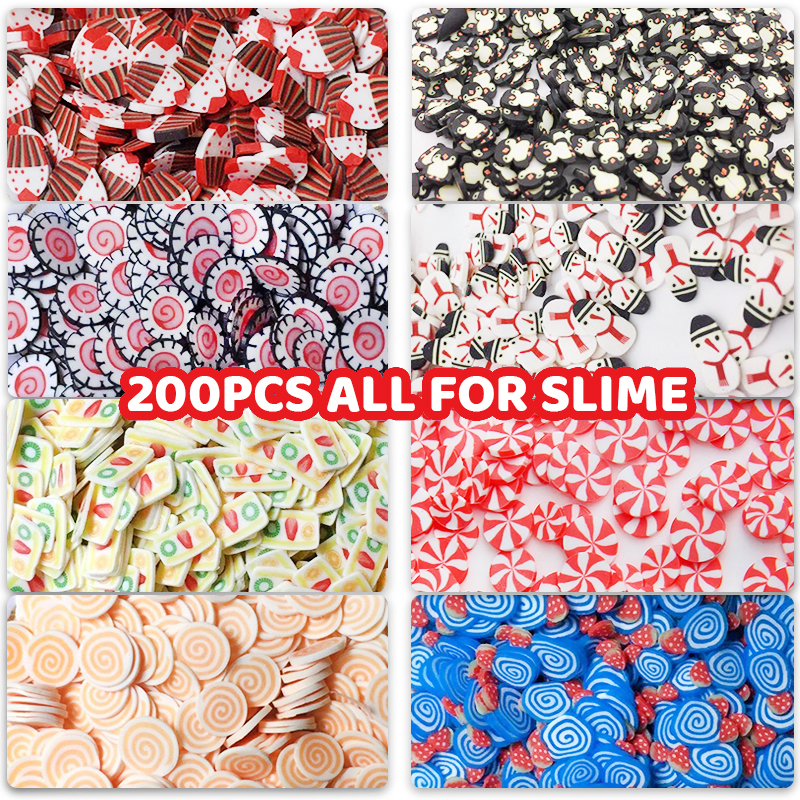 200Pcs Soft Pottery Fruit Slices Slime DIY For Nail Supplies Phone Accessories Charms For Slime Fluffy Lizun Kit Child Toys