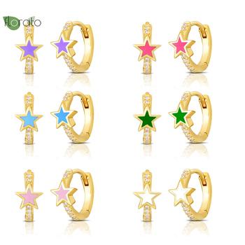 925 srebrna klamra do uszu kolorowa gwiazda akcesoria wisząca klamra kolczyki dla koreańskich dziewczyn małe kolczyki w kształcie obręczy biżuteria z cyrkonią tanie i dobre opinie YUXINTOME CN (pochodzenie) 2 41g SILVER 925 sterling Certyfikat GDTC moda LN0527 Kobiety Hyperbole Brak Kolczyki w kształcie kółek