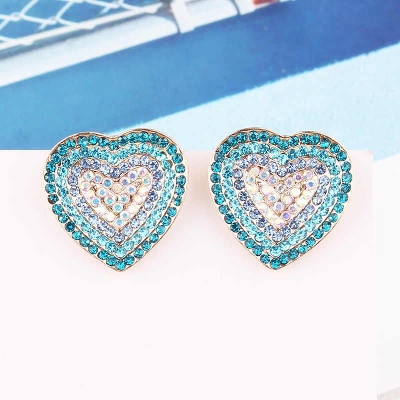 LUBOV Light Blue Heart STUD ต่างหูแฟชั่นผู้หญิง Noble เครื่องประดับงานแต่งงานชุบทองต่างหูจัดส่งฟรี