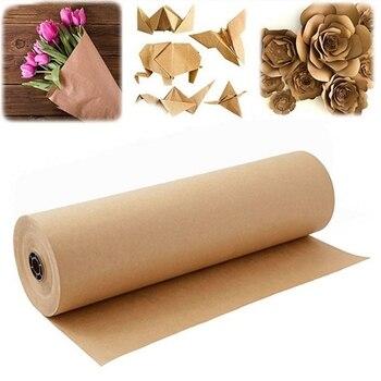 60 metros marrón Papel Kraft para envolver rollo para boda cumpleaños fiesta regalo de paquete de embalaje arte