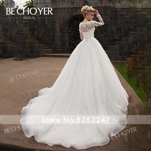 Image 2 - אופנה להסרה 2 ב 1 חתונה שמלת BECHOYER N238 אפליקציות אונליין 3D פרח נסיכת הכלה שמלת מותאם אישית Vestido דה Noiva