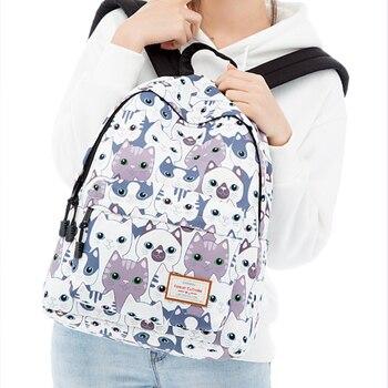 цена на School Bag for Girl Teenage Cat Printed Backpack Casual College Student Bookbag Travel Back Pack Laptop Bagpack Mochila Feminina