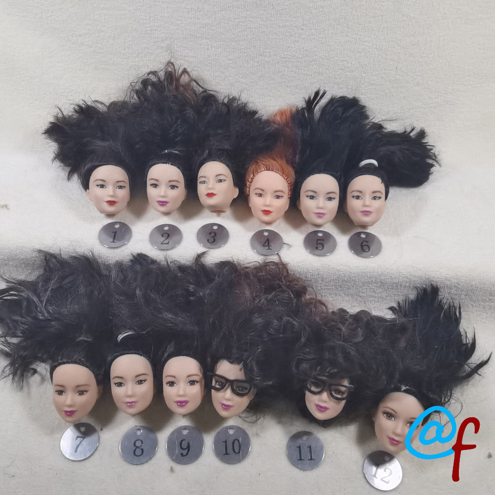 B9-3 Original Foreign Trade East Asia Korea China Beauty NO Smile Phoenix Eyes 1/6 OOAK NUDE Rarely Doll Head Mussed Hair
