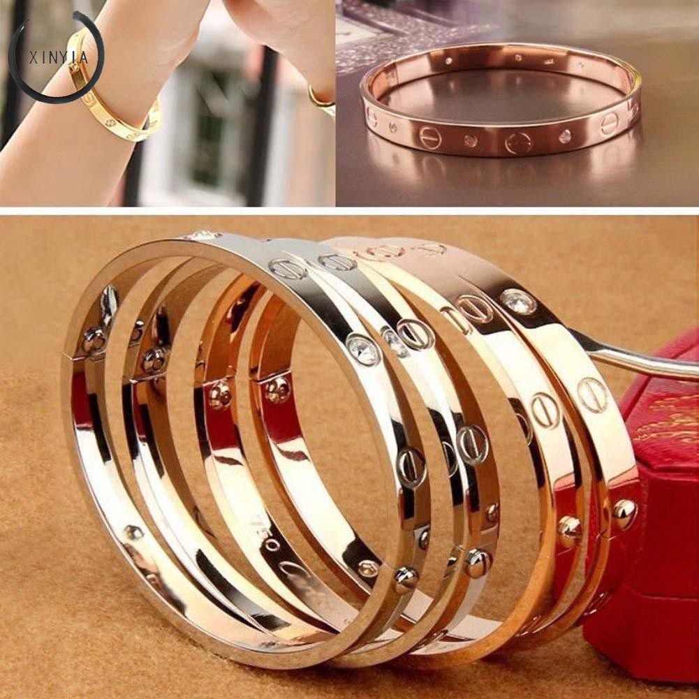 Trendy Luxury Rose Gold Open Cuff Design Titanium Bracelets Bangles Jewelry Bracelet For Woman Couple Gift Famous Jewelry