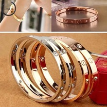 Trendy Luxury Rose Gold Open Cuff Design Titanium Bracelets Bangles Jewelry Bracelet for Woman Couple Gift Famous Jewelry(China)