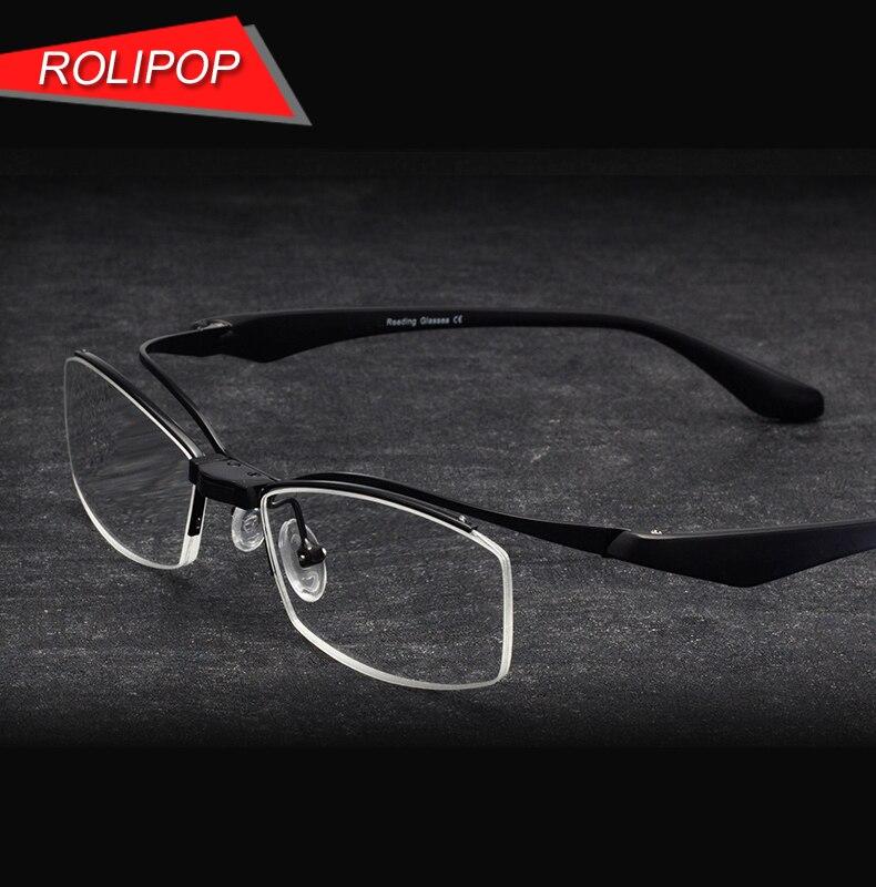 Meio quadro leitores óculos de leitura flipup óculos homem lupa tr90