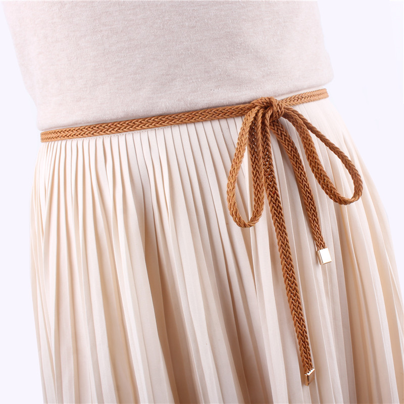 Girls Vintage Brown Thin Belts For Women Dress Knitted Woven Braided Strap Belt Waist Knotted Rope Luxury Fashion Ladies