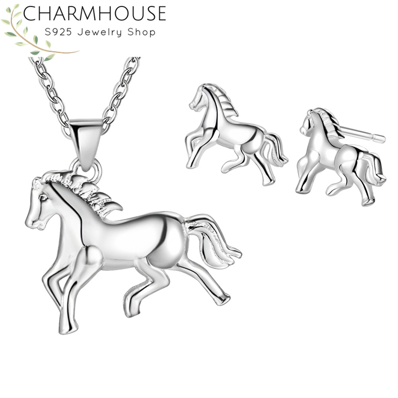 Charmhouse Silver 925 Jewelry Sets For Women Horse Stud Earring Necklace Brincos Collier 2pcs Wedding Jewelery Set Accessories