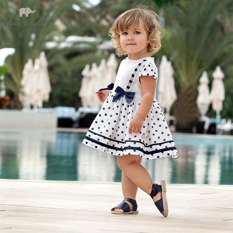 DB12973 Dave Bella Summer Baby Girl's Cute Bow Dots Print Dress Children Fashion Party Dress Kids Infant Lolita Clothes