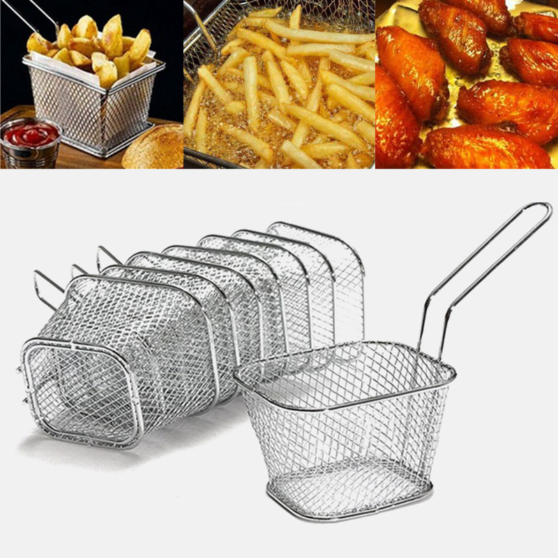 Mini French Fries Basket Strainer Mini French Deep Fryers Basket Net Mesh Fries Chip Kitchen Tool Stainless Steel Fryer Home