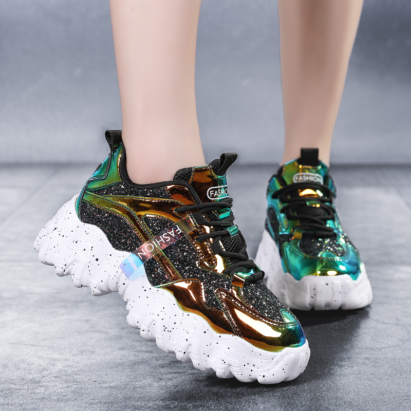 2020 Air Mesh Women Casual Sneakers Female Luxury Bling Platform Chunky Shoes Girl Summer Women Brand Walking Designer Shoes 41
