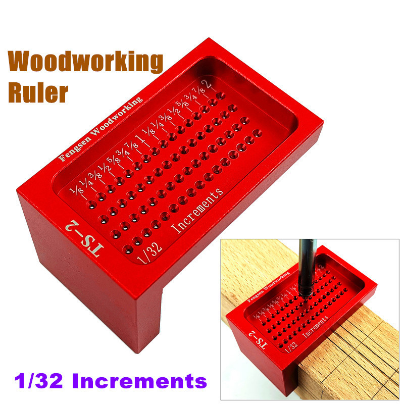 1/32 Increments Measuring Tool Woodworking T-type Scribe Mark Inch Hole Ruler Aluminum Alloy Precision Cross-calibration Ruler